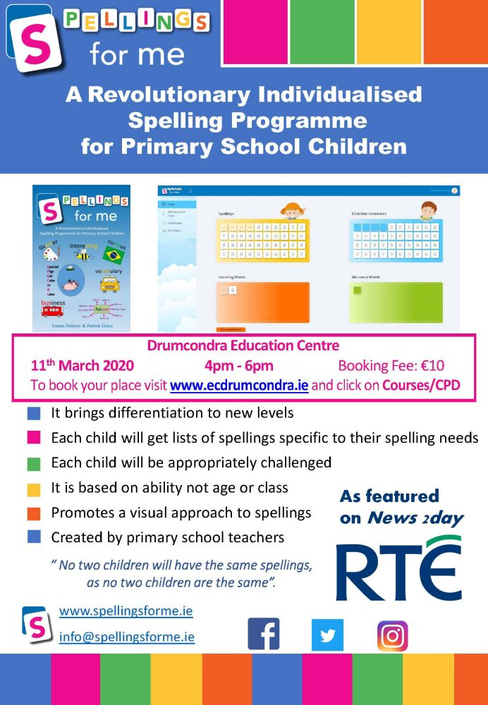 Spellings for Me Flyer Drumcondra Education Centre Page 1