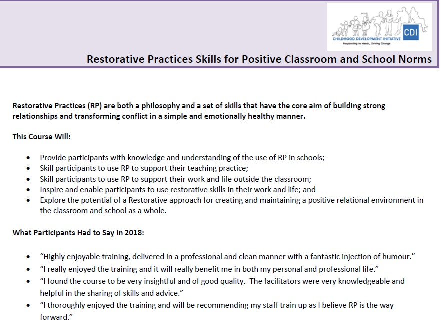 Restorative Practices Can Transform >> Restorative Practices Skills For Positive Classroom And School Norms